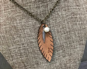 Soar Feather Necklace, Laser Engraved, Customized Jewelry, Bursting Barns Laser Engraving