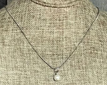 Rustic Pearl Necklace, Silver Necklace, Laser Engraved, Customized Jewelry, Bursting Barns Designs