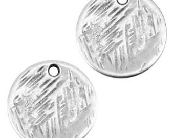 DQ Metal pendant round-Ø 15 MM-2 pcs.-Zamak-color selectable (color-silver)
