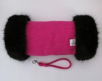 Harris Tweed Fuchsia Pink Hand Muff with Black Faux Fur Trim