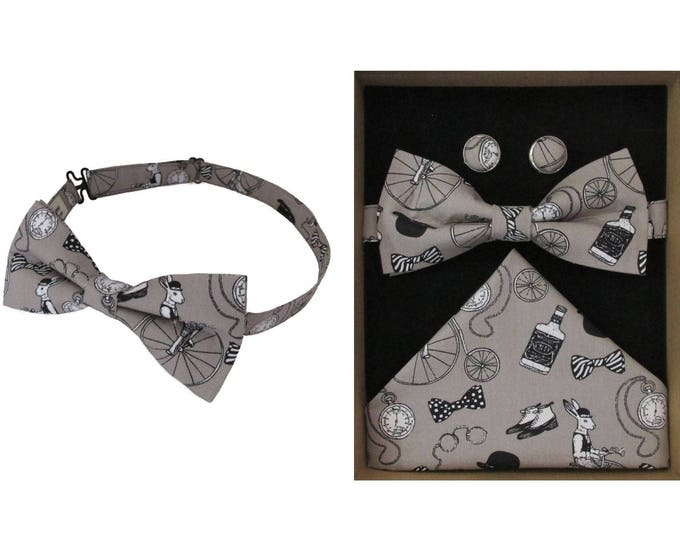 Gentlemens Club Stone Bow Tie & Boxed Gift Set