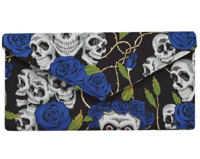 Day of the Dead Blue and Black Skulls & Roses  Clutch Bag