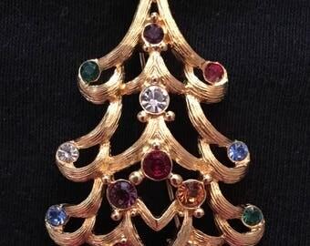 Monet Christmas Tree Brooch / Pin