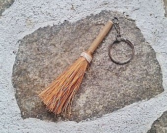 Witches Keyring, witches broom key chain, small broomstick key fob, broomstick decor, hanging broom stick,  yule tree decor, pagan gift idea