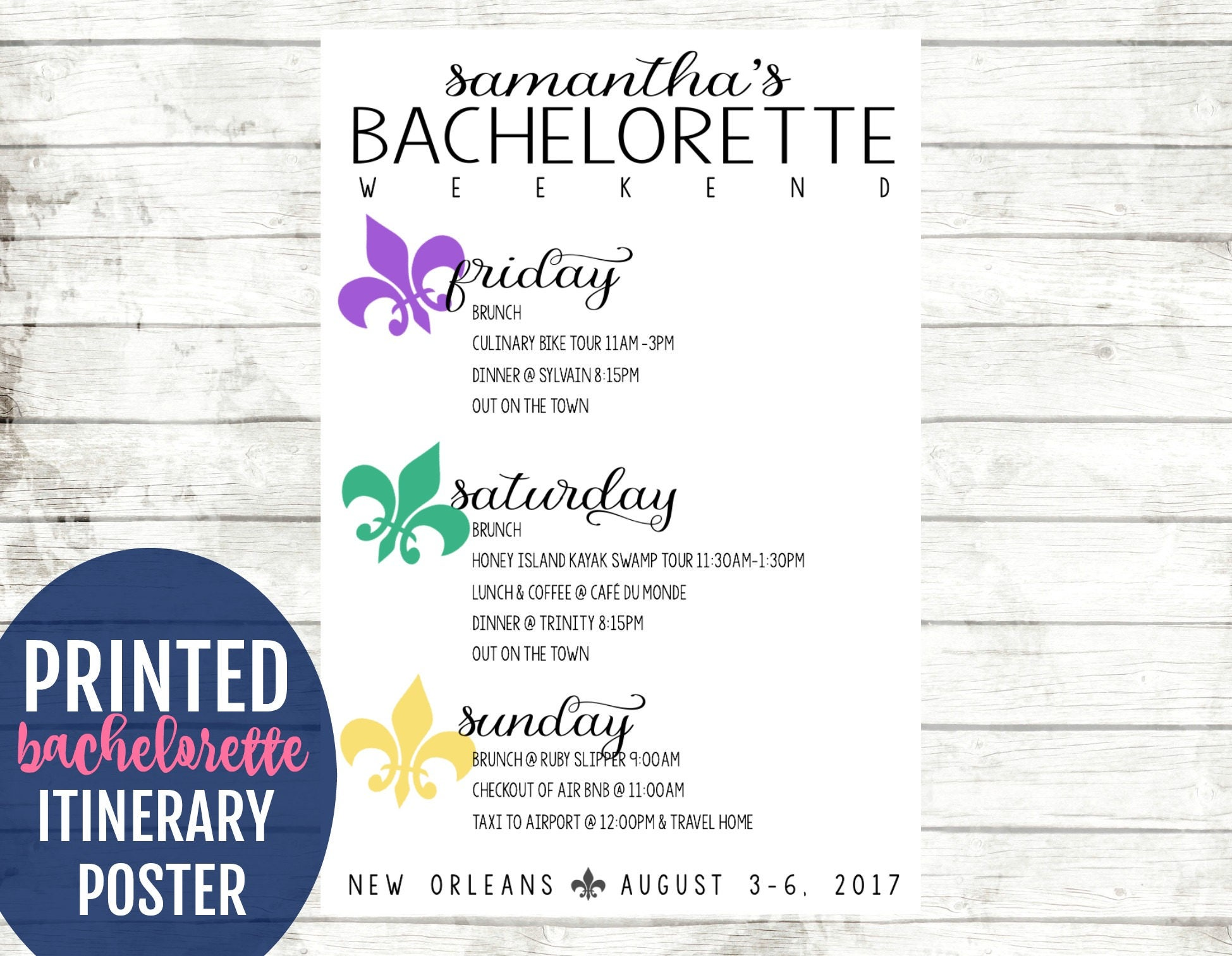 NOLA Bachelorette Weekend Itinerary Sign. New Orleans