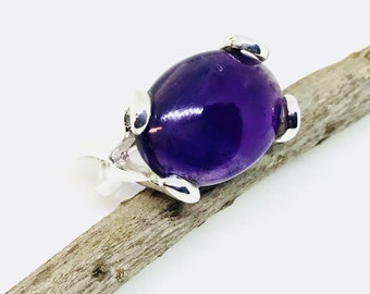 Amethyst stone  ring set in Sterling silver 92.5. Size -9. Natural authentic amethyst stone- 18x14mm oval