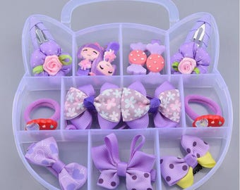 Baby Hair Clips & Ties Gift Sets, Children's Bow Mixed Design Baby Girl Toddle Hair Clips with Birthday Gift Box--YTG07