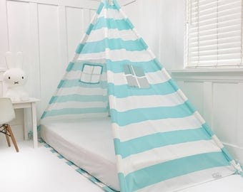 Turquoise & White Stripe Twin Canopy Bed WITH DOORS
