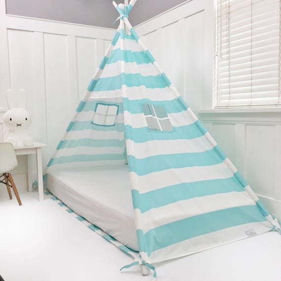 Play Tent Canopy Bed in Aqua/Turquoise and White Stripe