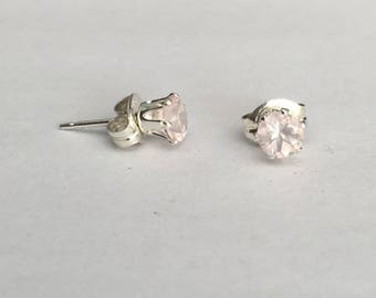 4mm Rose Quartz and sterling silver stud earrings, gemstone studs
