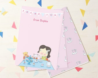 Personalised Girl's Tea Party Thank You Cards (choose the hair colour) -- Minimum order 8