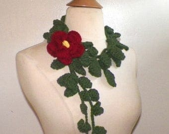 On Sale- Red Scarf  Lariat Rose  Crochet Flower Necklace With Green Ivy Floral Accessory Freeform OOAK Spring Fashion Extra Long Skinny Scar