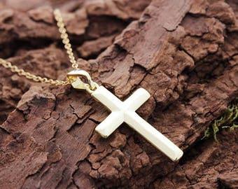 Gold Cross 14k necklace, gold Cross pendant necklace.  classic Gold cross Pendant necklace.  Gold Cross necklace, Gold cross pendant