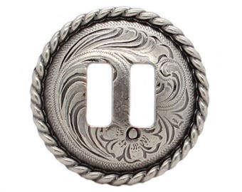 "Antique Nickel Slotted Rope Edge Concho 1"" 3484-ANS"