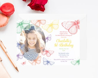 Rainbow Butterfly Birthday Invitation with Photo | Butterfly Birthday Invite | Butterfly Invitation | Garden Party Invitation | Tea Invite