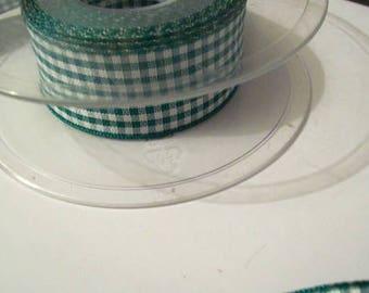 Green check ribbon 25mm ribbon green and white ribbon 5 metres