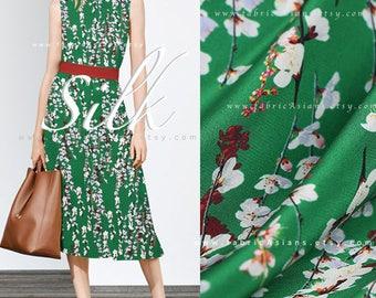 buy Printed silk Green silk by the yard - seda metro comprar