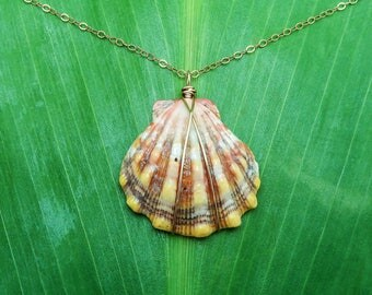 Peach pink and yellow sunrise shell necklace