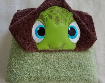 Kids Hooded Towel,Baby Turtle Child's Hooded Bath Towel Personalized Towel,Embroidered Kids Bath/Beach Towel,Hooded Towel,Turtle Pool Towel