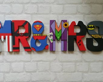 Mr & Mrs Sign. Superhero Wedding. Top Table Sign. Hand Painted letters. MADE TO ORDER. Mr and Mr letters. Mrs and Mrs Wedding Sign