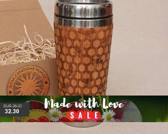 Bamboo Wood Travel Mug ''My Honey'' Customized Gift Full Design Engraved Car Desk Coffee Tea Cup Stainless Steel