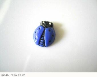ON SALE Vintage West German Ladybugs Blue Black Stones Blue Ladybug Cabochons Black West German Ladybug Stones 14x11mm (1 pc) 52V8