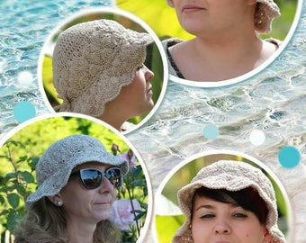 Summer hat for women crocheted cotton safari style