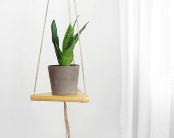 Vintage Wood and Jute Plant Holder for DIY Wall Hanging Planter | Triangle Swing Shelf, Floating Shelving | Geometric Wooden Stand, Hanger