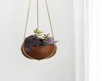 Vintage Wooden Hanging Planter | Dark Oiled Wood Bowl | Succulent Plant Pot and Beige Raw Jute Hanger | Mid Century Modern Home Decor