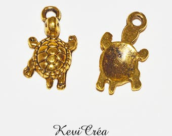 8 x charms gold tone turtle