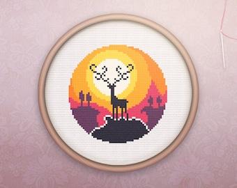 Animal Cross Stitch • Modern Deer Cross Stitch Pattern • Modern Embroidery • Easy Counted Cross Stitch PDF • Deer Silhouette XStitch Pattern