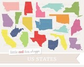 US State Clipart, State Clip Art, America Clipart, USA Clipart, United States Clipart, Cute Digital Graphic Design Small Commercial Use