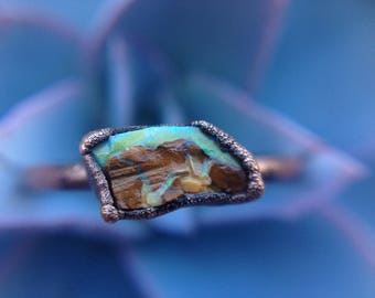 Opal Ring | Raw Opal | Raw Opal Ring | Opalo Ring | Copper Ring | Australian Opal | Rough Opal Jewelry | Size 8 1/4 | Ready-To-Ship