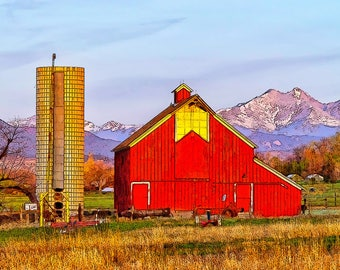 Red Barn and Long's Peak, Colorado: Study #2...A Fine Art Photo-Illustration Print