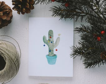 Holiday Greeting Card - Christmas Cactus Card, Merry Christmas, Merry Everything, Joy to All, Happy Everything, Christmas Card