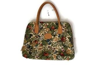 Vintage FLORAL handbag Tapestry handbag 1980s beige flower bag BOHO HIPPIE carpet bag embroidered bag vintage handbag