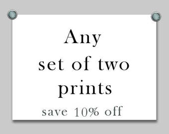 Discount prints, Set of two photos, set of two prints, fine art print sets, any two prints, custom print sets, sale, photography sale