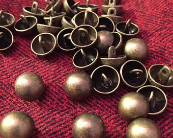 10 mm antique brass colored metal shank button, domes, set of 10