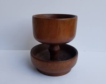 Heavy Two Tiered Wood Bowl Turned from One Piece of Wood