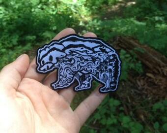 "Hand Drawn design Kodiak Bear iron on patch 3"" x 2"" Outdoor patch, Adventure Patch, Nature Patch, Wanderlust"