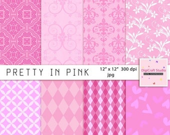 CIJ Digital Pink Scrapbook Paper 8 sheets of  12 x 12  jpg format 300 dpi. Instant Digital Download