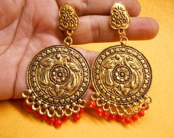 Nepali Boho Golden Oxidized Traditional Red Beads Jhumka Jhumki Earring JER17