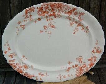 Antique Keeling and Co Ltd Burslem 'Flora'  Coral/Rose Large Oval Serving Platter