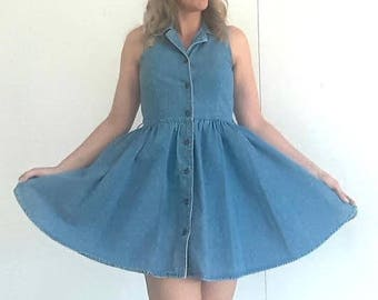Vintage 1990 denim dress, womens denim dress, vintage jean dress, size 10