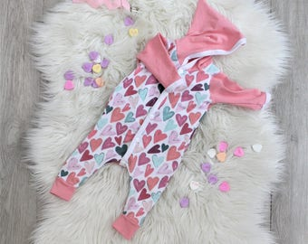 Valentines Day Baby Outfit - Heart One Piece - Baby Girl - Coming Home Outfit - Snap Up Romper - Pixie Hood - Newborn - Baby Shower Gift
