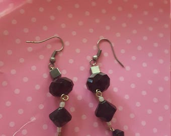 Gun metal and Black dangle earrings