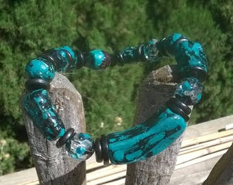 Teal and Black Large Stretch Bracelet