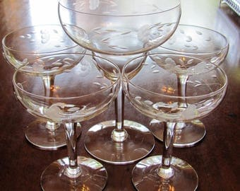 Princess House Coupe Champagne & Margarita Glasses, Set of 5