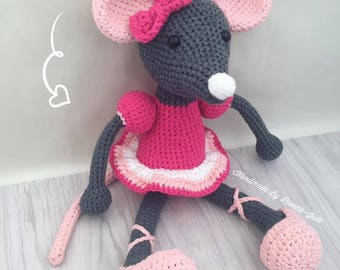 Amigurumi Crochet Ballerina Mouse, soft plushie toy, handmade amigurumi toy