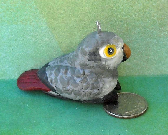 Sally Blanchard's Tongue-in-Beak Clayworks Timneh African Grey Parrot Christmas Tree Ornament One of a Kind Hand-crafted Limited Number